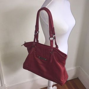 The Sak red leather large tote style silvertone